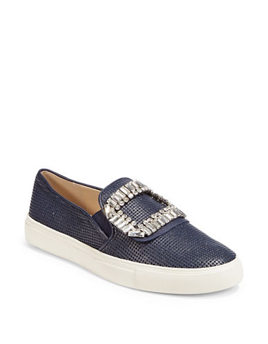 Karl Lagerfeld Paris Slip-On Embellished Sneakers-DARK BLUE-6.5