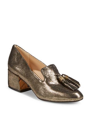 Karl Lagerfeld Paris Shimmer Tassel Heels-BRONZE-9.5