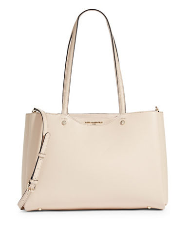 Karl Lagerfeld Paris Dorine Leather Tote-BEIGE-One Size