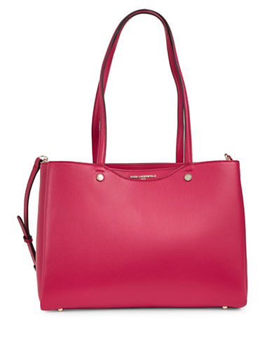 Karl Lagerfeld Paris Dorine Leather Tote-BERRY-One Size
