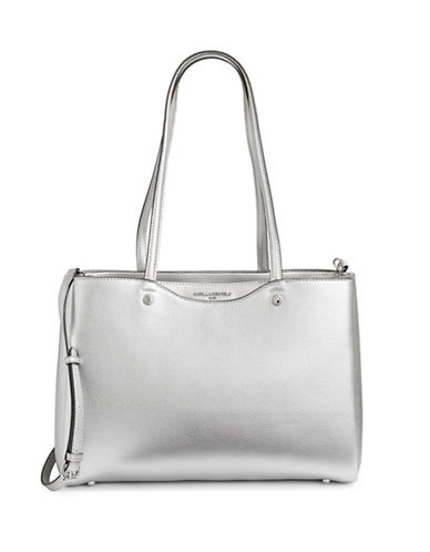 Karl Lagerfeld Paris Dorine Leather Tote-SILVER-One Size