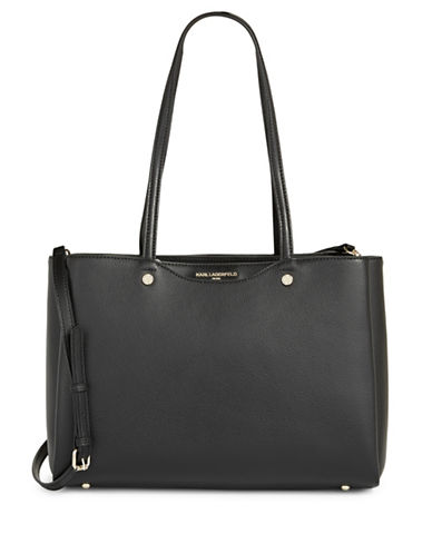 Karl Lagerfeld Paris Dorine Leather Tote-BLACK-One Size