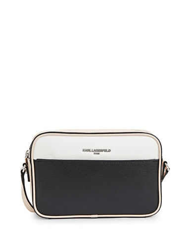 Karl Lagerfeld Paris Winnie Leather Camera Bag-SAND/BLACK-One Size