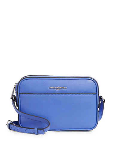 Karl Lagerfeld Paris Winnie Leather Camera Bag-PERIWINKLE-One Size