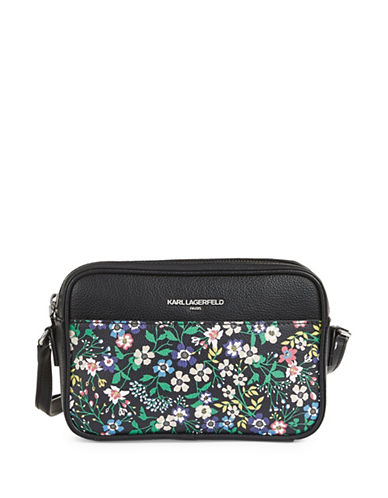 Karl Lagerfeld Paris Winnie Leather Camera Bag-FLORAL-One Size