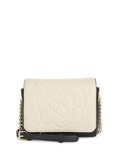 Karl Lagerfeld Paris Flora Leather Crossbody Bag-CREAM/BLACK-One Size