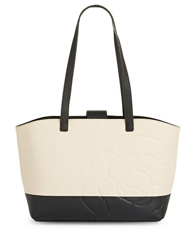 Karl Lagerfeld Paris Flora Leather Tote-CREAM/BLACK-One Size
