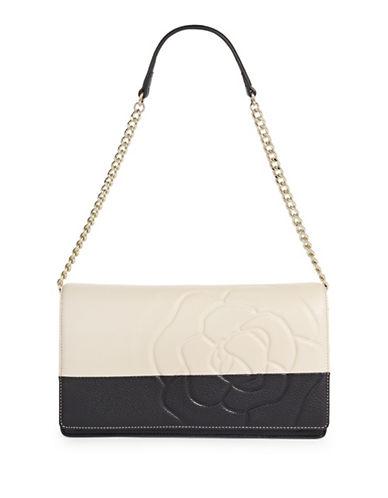 Karl Lagerfeld Paris Flora Leather Shoulder Bag-CREAM/BLACK-One Size
