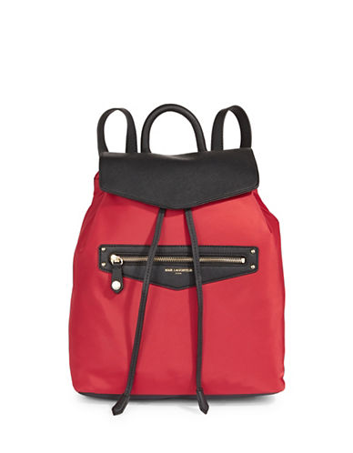Karl Lagerfeld Paris Leather-Trimmed? Nylon Drawstring Backpack-RED-One Size
