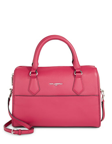 Karl Lagerfeld Paris Winnie Leather Satchel-BERRY-One Size