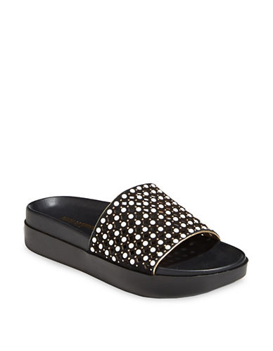 Karl Lagerfeld Paris Faux Pearl Leather Slides-BLACK-5