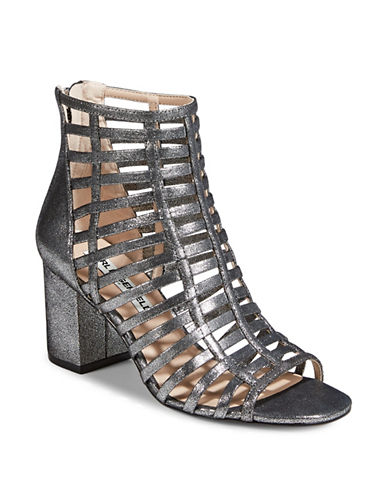 Karl Lagerfeld Paris Caged Heeled Sandal-SILVER-7.5