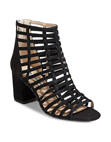 Karl Lagerfeld Paris Caged Heeled Sandal-BLACK-7.5