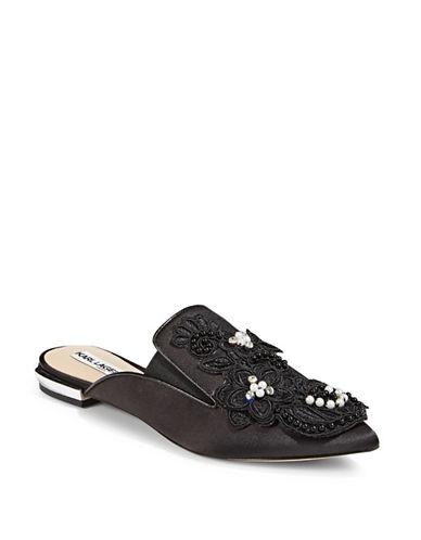 Karl Lagerfeld Paris Floral Embellished Mules-BLACK-6