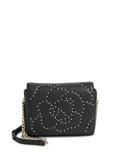 Karl Lagerfeld Paris Flora Leather Crossbody Bag-BLACK-One Size