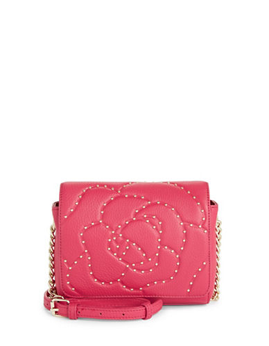 Karl Lagerfeld Paris Flora Leather Crossbody Bag-BERRY-One Size