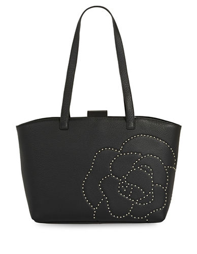 Karl Lagerfeld Paris Flora Leather Tote-BLACK-One Size