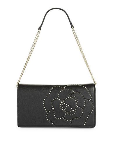 Karl Lagerfeld Paris Flora Leather Shoulder Bag-BLACK-One Size