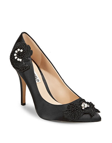 Karl Lagerfeld Paris Floral Embellished Pumps-BLACK-7.5