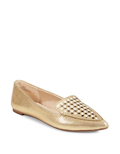 Karl Lagerfeld Paris Devan Pointed Flats-GOLD-5