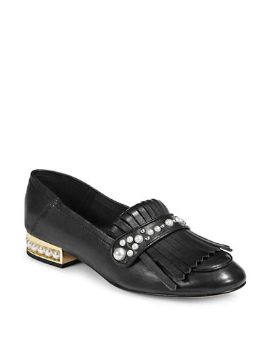 Karl Lagerfeld Paris Blake Embellished Leather Loafers-BLACK-5