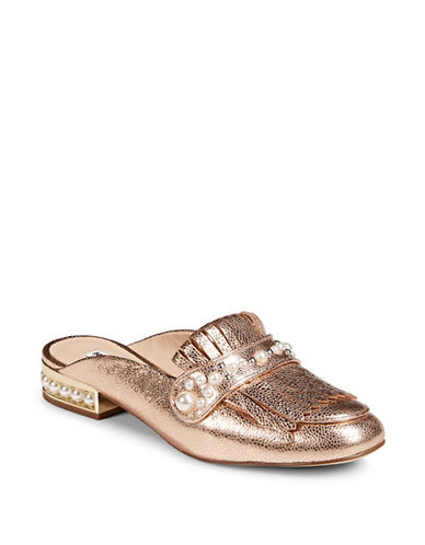 Karl Lagerfeld Paris Faux Pearl Embellished Mule-ROSE GOLD-10