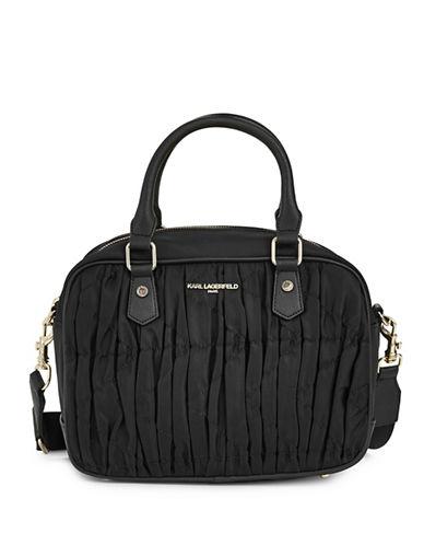 Karl Lagerfeld Paris Kourtney Satchel-BLACK-One Size