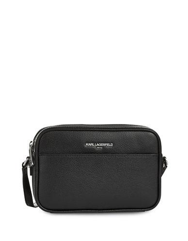 Karl Lagerfeld Paris Winnie Leather Camera Bag-CHARCOAL-One Size