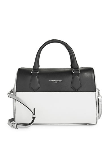 Karl Lagerfeld Paris Winnie Leather Satchel-SILVER/BLACK-One Size
