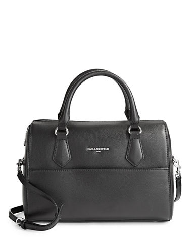 Karl Lagerfeld Paris Winnie Leather Satchel-BLACK-One Size
