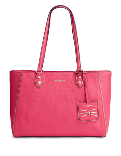 Karl Lagerfeld Paris Zippy Leather Tote-BERRY-One Size