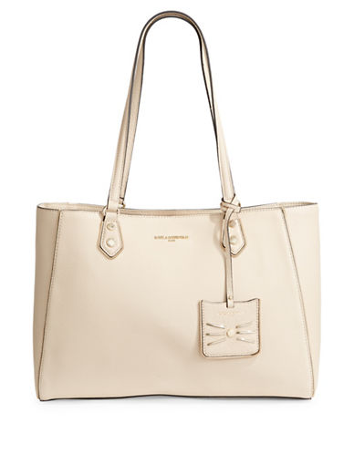 Karl Lagerfeld Paris Zippy Leather Tote-OFF WHITE-One Size