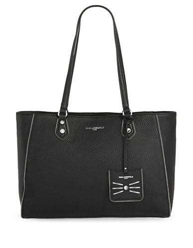 Karl Lagerfeld Paris Zippy Leather Tote-BLACK-One Size