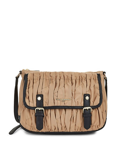 Karl Lagerfeld Paris Kourtney Flap Crossbody Bag-BEIGE-One Size