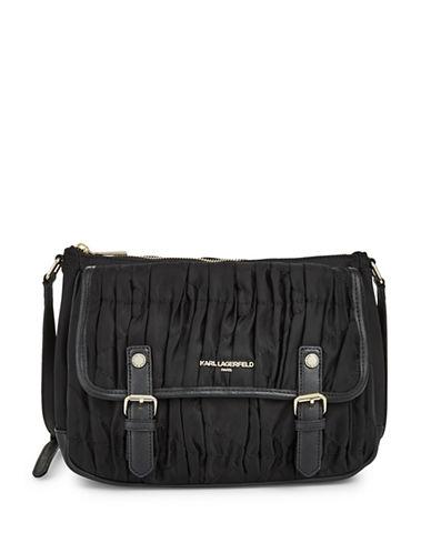 Karl Lagerfeld Paris Kourtney Flap Crossbody Bag-BLACK-One Size