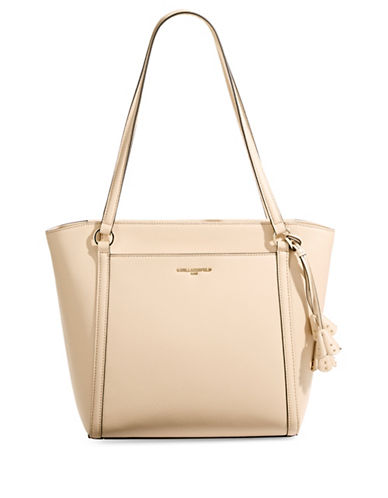 Karl Lagerfeld Paris Iris Top Zip Leather Tote-SAND-One Size