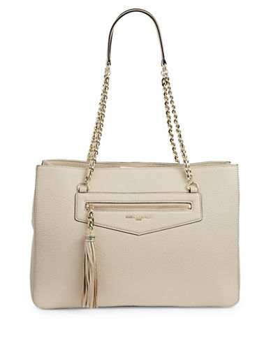 Karl Lagerfeld Paris Tess Leather Tote-SAND-One Size