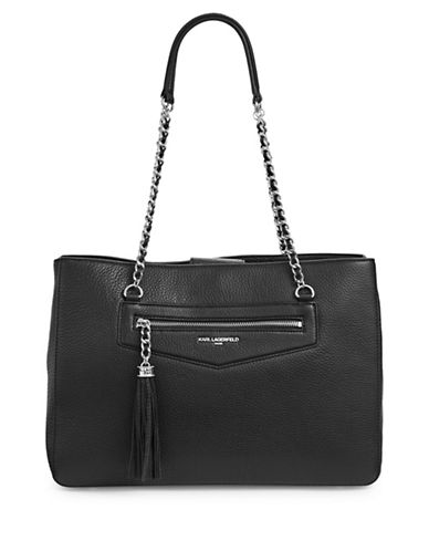 Karl Lagerfeld Paris Tess Leather Tote-BLACK/SILVER-One Size