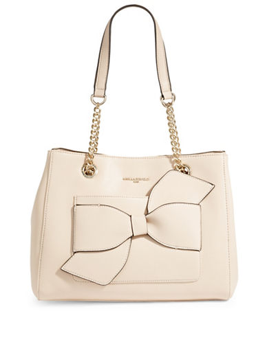 Karl Lagerfeld Paris Janelle Leather Bow Satchel-SAND-One Size