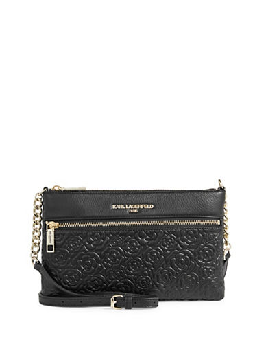 Karl Lagerfeld Paris Bouquets Leather Crossbody Bag-BLACK-One Size