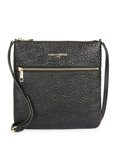 Karl Lagerfeld Paris Bouquet Leather Crossbody Bag-BLACK-One Size
