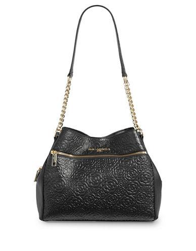 Karl Lagerfeld Paris Bouquets Leather Satchel-BLACK-One Size