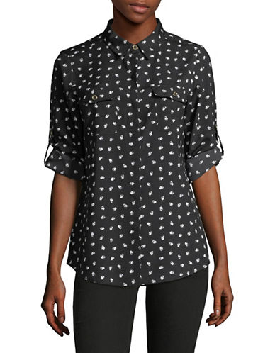 Karl Lagerfeld Paris Eiffel Button-Down Shirt-GREY-Small