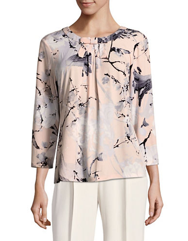 Karl Lagerfeld Paris Tie Neck Floral Top-PINK-X-Large