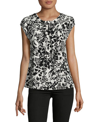 Karl Lagerfeld Paris Pleated Floral Top-BLACK-Medium