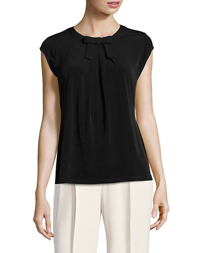 Karl Lagerfeld Paris Tie-Neck Pleated Top-BLACK-Medium