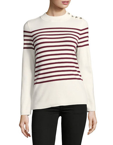Karl Lagerfeld Paris Rugby Stripe Sweater-NATURAL-Large