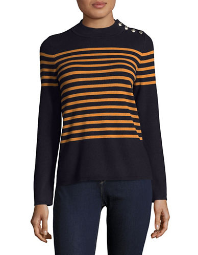 Karl Lagerfeld Paris Rugby Stripe Sweater-BLUE-Large