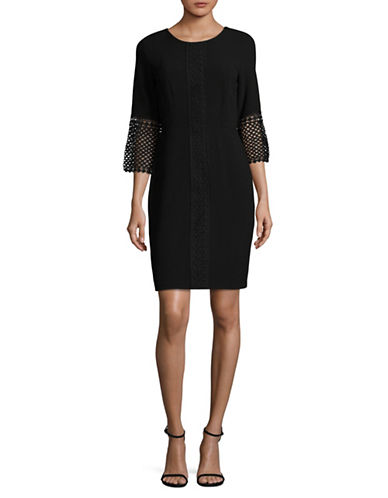 Karl Lagerfeld Paris Lace Sheath Dress-BLACK-4