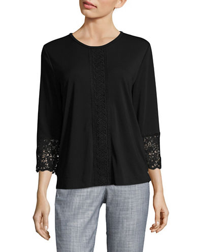 Karl Lagerfeld Paris Lace Knit Top-BLACK-Medium